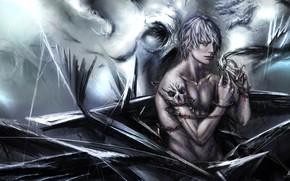 Картинка готика, кровь, череп, цепь, монстры, парень, by Asteltainn