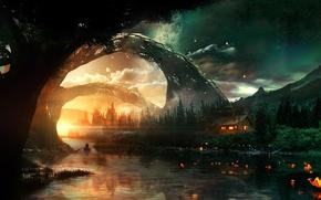 Картинка небо, деревья, горы, река, берег, лодка, звёзды, домик, seeking solace