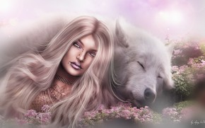 Картинка девушка, природа, лицо, фон, волосы, волк