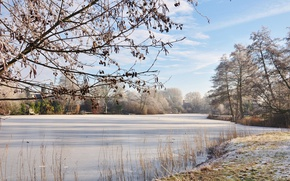 Картинка иней, река, мороз