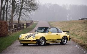 Картинка дорога, осень, желтый, туман, 911, Porsche, автомобиль, road, Carrera, autumn, fog, Targa