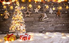Обои Рождество, елка, happy, украшения, снег, vintage, decoration, wood, Christmas, New Year, игрушки, Merry Christmas, Новый ...
