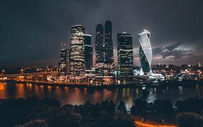 Картинка ночь, город, огни, Россия, Москва Сити