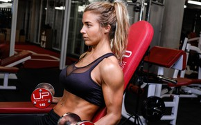 Обои dumbbells, muscle, model, fitness, shoulder, Gemma Atkinson