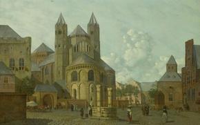 Картинка дерево, масло, картина, Йоганнес Хьюберт Принс, Фантастический вид Города с Романской Церковью