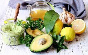 Картинка лимон, масло, соус, петрушка, чеснок, авокадо