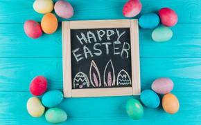 Картинка яйца, colorful, Пасха, доска, wood, spring, Easter, eggs, decoration, Happy