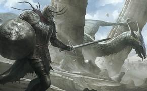 Картинка дракон, меч, шлем, охота, руины, щит, рыцарь, доспех