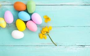 Картинка цветы, яйца, весна, colorful, Пасха, wood, pink, flowers, spring, Easter, eggs, decoration, Happy, tender