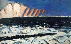 Картинка зима, снег, айсберг, 1937, Авангард, Экспрессионизм, Макс Бекман, Гром на Северном море