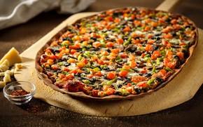 Картинка сыр, овощи, пицца, оливки