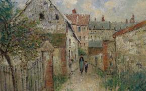 Картинка дома, картина, городской пейзаж, Гюстав Луазо, Gustave Loiseau, Деревенская Улица. Лувье
