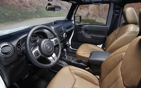 Картинка руль, сиденья, салон, Wrangler, Jeep, Moab