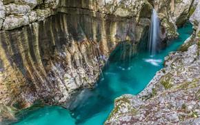 Картинка Водопад, Скалы, Озеро, Ручейки