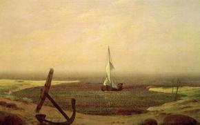 Картинка лодка, Вечер, картина, парус, якорь, Каспар Давид Фридрих