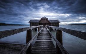 Обои природа, мост, дом, озеро