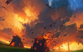 Картинка пожар, пламя, апокалипсис, катастрофа, хаос, бомбардировка, метеоритный дождь, деревянные домики, падение метеорита