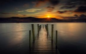 Картинка море, пейзаж, закат, пристань, красота