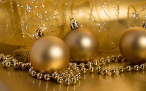 Картинка шарики, украшения, золото, праздник, Новый год, golden, декор, ribbon, baubles
