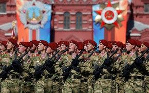 Картинка праздник, солдаты, парад, Красная площадь, 9 мая, ура