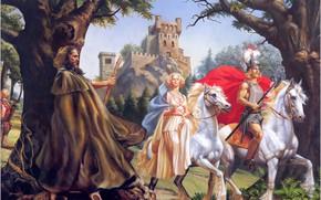 Обои Замок, маг, волшебник, белые кони, Rowena Morrill, The Crimson Chalice