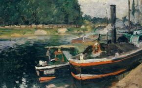Картинка пейзаж, корабль, картина, Камиль Писсарро, Баржи в Понтуазе