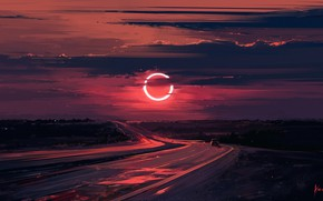 Картинка арт, Eclipse, Alena Aenami, дорога. закат