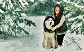 Картинка зима, снег, природа, собака, Девочка
