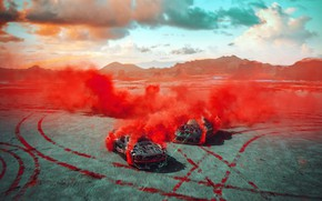 Картинка горы, следы, дым, автомобили, Drone RUN