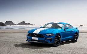 Обои Ford, 2019, побережье, Performance Pack, Mustang, EcoBoost