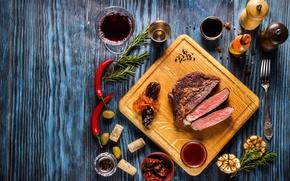 Обои зелень, вино, мясо, соус, wood, специи, чили, meat