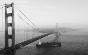 Картинка дорога, море, машины, пролив, black & white, Калифорния, залив, Сан-Франциско, Золотые Ворота, USA, США, Golden …