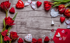 Обои heart, love, valentine`s day, romantic, тюльпаны, tulips, gift, red