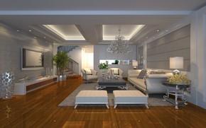 Обои living room, Luxury, интерьер, мебель, люстра, гостиная