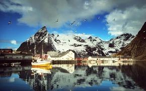 Обои небо, Норвегия, катер, снег, домики, Lofoten, Лофотенские острова, чайки, облака, Reine, вода, лодки, птицы, яхты, ...