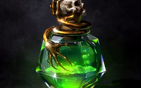 Картинка skull, fantasy, liquid, digital art, artwork, fantasy art, Poison, bottle, potions