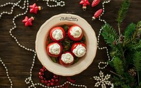Картинка новый год, ель, ветка, помидоры, соус