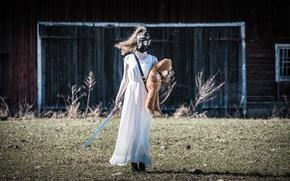 Картинка девушка, меч, мишка, противогаз, Apocalypse