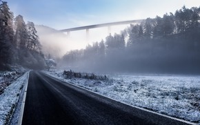 Картинка зима, дорога, туман
