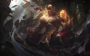 Картинка game, fighter, man, asian, martial artist, chinese, oriental, asiatic, powerful, strong, League Of Legends, muscular, …