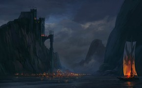 Обои world, boat, fire, ocean, see, light, town, structure, sea, contrast, ancient, fantastic, fantasy, Painting, castle, ...