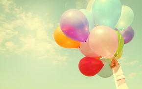 Картинка лето, солнце, счастье, воздушные шары, отдых, colorful, summer, sunshine, happy, beach, vacation, balloon