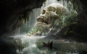 Обои лодка, путешествие, арт, череп, Quentin Mabille, Skull Cave, fantasy
