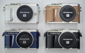 Картинка фотоаппараты, olympus, четыри