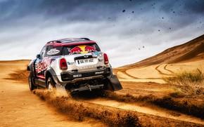 Картинка Песок, Mini, Спорт, Пустыня, Скорость, Гонка, Rally, Внедорожник, Ралли, 105, X-Raid Team, MINI Cooper, Шёлковый ...