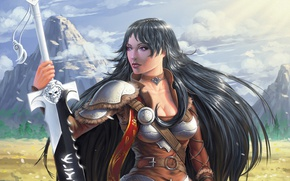Обои поле, девушка, горы, ветер, меч, брюнетка, воин, воительница, Misanthropy, Akella