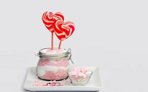 Картинка сердце, конфеты, леденец, десерт