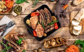 Обои хлеб, мясо, барбекю, овощи, соус, wood, meat, гриль, grilled