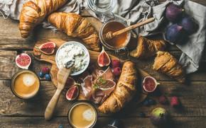 Картинка кофе, еда, завтрак, сыр, бекон, круассаны, инжир, Natasha Breen, ricotta