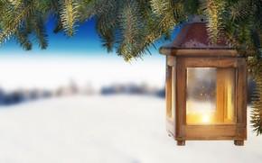 Картинка снег, украшения, елка, Новый Год, Рождество, фонарь, Christmas, snow, Merry Christmas, Xmas, decoration, candle, lantern, ...